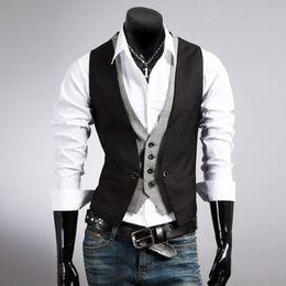 2017 Hombres Chalecos Hombres Marca de Moda Falso Diseño de Dos Piezas Chaleco Hombre Casual Slim Fit Traje Chalecos Hombres S-XXL Negro Caqui desde fabricantes