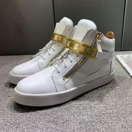 scarpe da ginnastica italiana Sconti scarpe da ginnastica progettista NUOVO italiana in pelle di alta cima dei brevetti nel nero Punta rotonda Doppia cerniera Mens / Womens Shoes casuali adn19102014