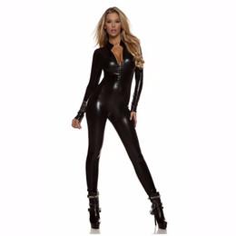 Robe longue et sexy en Ligne-Catsuit Noir À Manches Longues Pour Femmes Zip Devant Cou Cou Zentai Body Métallique Brillant Halloween Costumes De Déguisement Sexy Unitard