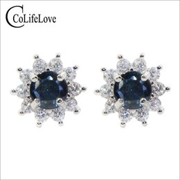 gifts ladies wear Coupons - CoLife Jewelry 100% natural sapphire stud earrings for lady wear 5mm green-blue sapphire earrings 925 silver sapphire jewelry gift for woman
