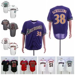 camisetas de béisbol negro rojo Rebajas Jersey Arizona Curt Schilling para hombre Diamondbacks Randy Johnson Zack Greinke Jerseys de béisbol negro blanco púrpura gris rojo