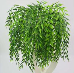 Fiori artificiali di cestino appesi a parete online-5 forchette verde Appeso Pianta Pianta artificiale Muro di salice Decorazione della casa Decorazione del balcone Accessori cesto di fiori