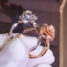 2019 großer silberner blumenring Nette Mode Große Rose Blume Ring Luxus Weiblichen Silber Rose Gold Verlobungsring Vintage Party Hochzeit Band Ringe Für Frauen günstig großer silberner blumenring