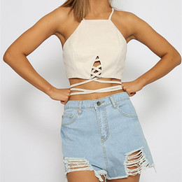 brown suede vest women Coupons - women summer Tanks Suede sexy wrap chest Camis Small vest top Halter t-shirt Bandage Crop Top Tank Cut Out Bustier plus-size