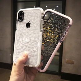 2019 sensation de diamant Diamant De Luxe Transparent Couverture Souple Pour iPhone XS XR XS Max X 8 7 6 6 S Plus Rhombus Clear Case Water Feeling Case sensation de diamant pas cher
