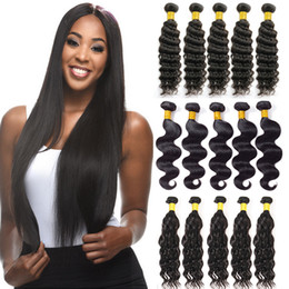 kinky straight hair weave Coupons - Unprocessed Brazilian Virgin Hair Straight Body Wave Kinky Curly Human Hair Bundles Peruvian Malaysian Indian Cambodian Deep Wave Extensions