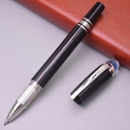 Bolas de cristal de resina on-line-Luxo MB-estrela-walker Pen Black Resin Roller Ball Pen Com Blue Crystal Top Escritório Escola Fontes Melhor Roteiro Rollerball canetas