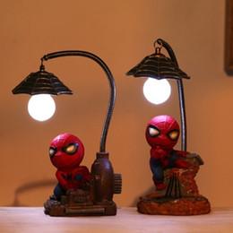 Meninos luzes da noite on-line-DHL desenhos animados Avengers Figuras de Ação Spider Man Noite Lamp Resina Crianças LED Night Light para o menino Crianças Xmas presente criativo brinquedos infantis Quarto