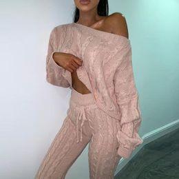 2019 chándal de cachemira de las mujeres Celebrity Sports Suits para mujeres Set Grandes cómodos trajes de punto Chándal Mujer Set de dos piezas Set Top y pantalones traje de cachemira chándal de cachemira de las mujeres baratos
