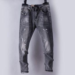 2019 taper jeans Homens Jeans Denim Jeans Homens Regular Cônico Meados de Elevação Stretchy Denim Pantalones Whiskered Calças Moda desconto taper jeans