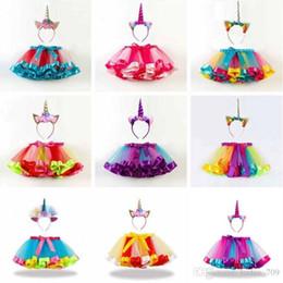 las niñas se visten faldas tutu Rebajas Niñas bebés Rainbow Color Tutus Faldas Unicornio Diadema 2pcs Conjunto Bebés Ropa encantadora Set Infant Toddler Holidays vacaciones Dress Up