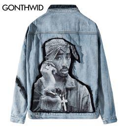 2019 chaqueta de tupac GONTHWID Hip Hop Rap rapero Tupac Shakur 2PAC remiendo del tinte del lazo del dril de algodón de la chaqueta Hip Hop capa ocasional Streetwear prendas de vestir exteriores del dril de algodón Jean chaqueta de tupac baratos