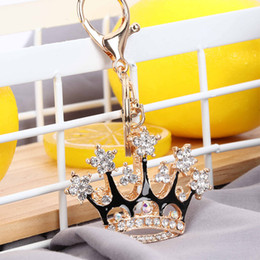 Elegante keychain on-line-1 Pc Elegante King Crown Strass Chaveiro Charme Purse Bag Pingente Chaveiro Mulheres Delicado Acessórios Chave
