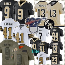Brees camisa de futebol on-line-9 Drew Brees Jersey 41 Alvin Kamara 7 Taysom Hill 13 Michael Thomas 94 Cameron 23 Marshon Lattimore Futebol Equipamentos