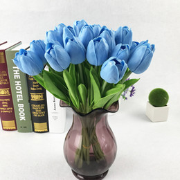 Tulipas azuis artificiais on-line-10pcs Blue Real Touch PU Tulipa Flor Artificial Casa De Casamento Decoração Bouquet Artificial Flor Decorativa DIY