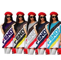 Una ropa deportiva online-Mujeres F Carta Camiseta Diseñador Vestido Falda Deportiva Verano de Manga Corta Rayas camisetas Camisetas Vestidos sueltos Ropa deportiva de una pieza Falda C436