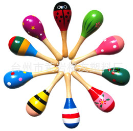 artigos de plástico Desconto 2018 venda quente do bebê brinquedo de madeira chocalho bebê bonito chocalho brinquedos Orff instrumentos musicais brinquedos educativos