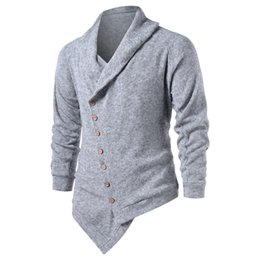 asymmetrische strickjacke Rabatt Hemiks Männer Asymmetrische Raglanärmeln zuknöpfen Cardigan Frühlings-Herbst-beiläufige lange Hülsen-Strickjacke Männer Outwear Pullover Tops