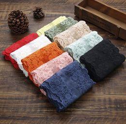 Jardas de fita elástica on-line-10 metros fita de renda elástica 12 CM de largura bordado nigeriano tecido de renda africano Branco Estiramento guarnições de renda bordada para costura