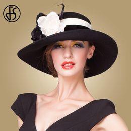 Фиолетовая фетровая шляпа онлайн-ФС британский стиль большие широкие поля Fedora женщин старинные черный фиолетовый шерсть зима фетровая шляпа для Церкви котелок Cloche шляпы сомбреро D19011102