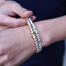 14k brazaletes online-Moda Rhinestone Crystal completa 14k caja para hombre pulsera de oro pulseras de cadena de Hip Hop joyería de la pulsera brazaletes del acero inoxidable para los hombres