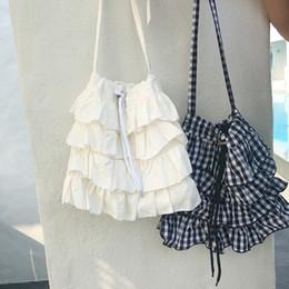 bolsas de renda rendas Desconto Mãe e filha saco de correspondência meninas xadrez lace-up único saco de ombro crianças em camadas falbala princesa saco das mulheres bolsa F4492