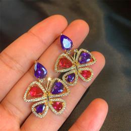 rosetón de diamantes Rebajas Bling Cubic Zirconia Diamond Butterfly Pendientes Para Las Mujeres 2019 Moda de Verano Rosette Stud Pendientes Diseñador de la Marca de Joyería de Cristal de La Boda