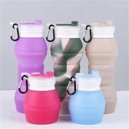 2019 bottiglia piegata Camouflage all'aperto bottiglie pieghevoli in silicone pieghevole bottiglia di acqua per adulti e bambini bollitore facile da trasportare MMA2600 sconti bottiglia piegata