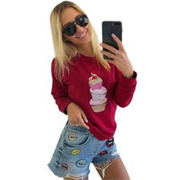 Sudadera rosa más el tamaño online-Otoño mujer Sudaderas con capucha Sudadera Moda Manga larga O-cuello Helado Imprimir Casual Loose Street Sudadera Tallas grandes Gris Rojo Rosa
