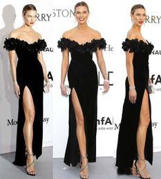 abendkleider cannes Rabatt Schwarzer Samt Celebrity Dresses 2019 Karlie Kloss inspiriert Gala Cannes Film Festival Schulterfrei formelles Abendkleid High Split Maxi-Kleid