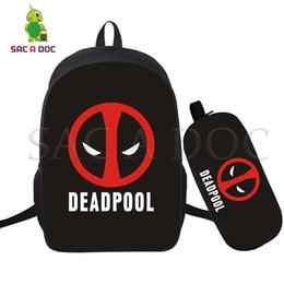 93b2aab0f625 2 Pcs set Deadpool Backpack Superhero School Bags for Teenagers Girls Boys  Laptop Backpack Women Men Casual Travel Bags