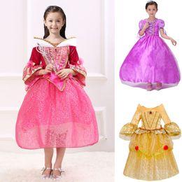Kız Prenses Elbise Up Kostüm Bebek Çocuk Dantel Aurora gazlı bez Uyku Güzellik Belle Sophia Elbise Cadılar Bayramı Noel Cosplay Giyim HH7-195 nereden resmi elbise korece kızlar tedarikçiler