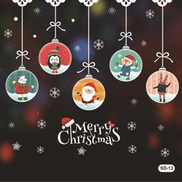 2019 weihnachten fenster dekorationen 50 * 70 cm Weihnachtsdekoration Fensterglas Aufkleber Frohe Weihnachten Weihnachtsmann Schnee PVC Abnehmbare Wandaufkleber für Weihnachten Abziehbilder rabatt weihnachten fenster dekorationen
