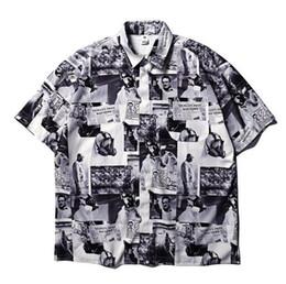 jornal de algodão Desconto Estilo verão jornal impresso mulheres homens camisas de manga curta hiphop streetwear homens de algodão casuais camisas de praia