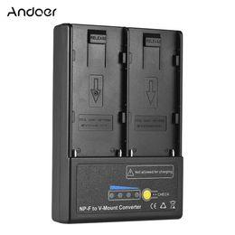 Batterie np online-Adattatore batteria piatto Andoer - Plate V-mount Adattatore convertitore della batteria con Dual Slot per -550 NP-F750 NP-F970 di alta qualità serie