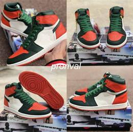 c2fb1f4fd3db0d 2019 Top Quality SoleFly x Jumpman 1 High OG Mens Basketball Shoes Black  Team Orange-Fir Green 1s Man Sports Sneakers With Original Box