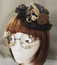 sexy gear Coupons - hats for small dogs Novelties Steampunk Victorian Gears Mini Top Hat Costume Hair Accessory Handmade With Steam Punk Gear Glasses