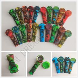 Cucchiai di silicone online-tubi in silicone resistente colorato ET cranio stile tubi silicone fumatori withe cucchiaio di metallo tubi silicone portatile vetro cannello olio tabacco