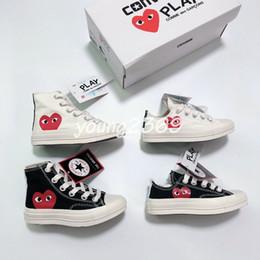 Estrella zapatos niño online-Converse converses shoes Nuevos niños CDG Jugar Star Chuck diseñador niños grandes zapatos de baloncesto de los niños muchachas del muchacho joven CDGs Todos los niños pequeños las