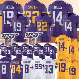 Camisolas viking on-line-Camisola de Minnesota # Vikings 19 Adam Thielen 14 Camisa de Stefon Diggs 22 Harrison Smith 8 Primos de Kirk Dalvin Cook 55 Barr 84 Camisolas de Musgo