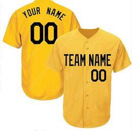 basebol customizável barato Desconto Personalizado New Men Baseball Jersey Simples Puro Jerseys Pulôver Botão Barato Amarelo 6095