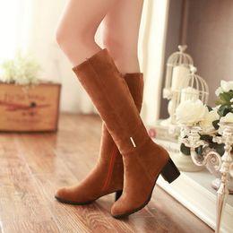 2019 botas de mujer tacón alto de pierna gruesa Botas de mujer zapatos con cremallera botas martin plataforma femenina tacón grueso pierna alta mujer Botas Mujer de gran tamaño 34-43 botas de mujer tacón alto de pierna gruesa baratos