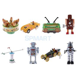 carros de brinquedo vintage Desconto lockwork wind up 11 Styles Vintage Mechanical Clockwork Wind Up Walking Robot / Roadster Veículo Carro / Carrossel Metal Collectible Tin Toy Kid ...