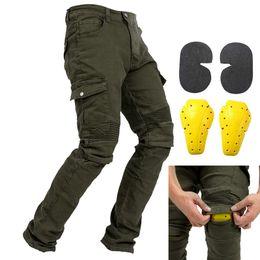 мотоцикл гоночный костюм Скидка Мужчины мотоцикл езда брюки мотокросс джинсы защитные брюки с 4 х съемный CE сертифицированный колено хип протектор колодки