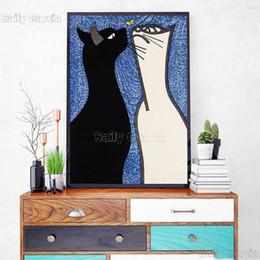 Hd pinturas florales online-Pinturas Cuadros lienzo decoración del hogar nórdicos Negro animal de la historieta gato blanco modular la pared del arte HD impresión del cartel para la sala