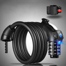 2019 schwarzes leichtes zuckerguss Passwort Anti-theft Matted Cable Fahrradschloss LED Licht 425g Fahrrad, Batterie Fahrrad, Mountainbike Lock Schwarz günstig schwarzes leichtes zuckerguss