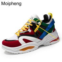 cuciture di pizzo bianco Sconti Moipheng 2019 Donne Scarpe Casual Piattaforma Flock Sneakers Bianche Lace-Up Appartamenti di Cucito Amante Scarpe Donna Zapatos Mujer Taglia 35-45
