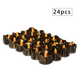 2019 candele candele di tè di cera 24pcs LED Candle Lights Vintage Tea Wax Flameless Flickering Tea Lights Decorazione Holiday Wedding candela elettrica lacrime candele candele di tè di cera economici