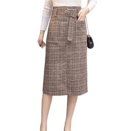 f3ed38d3ca9 Длинные шерстяные теплые клетчатые юбки женские 2019 весна осень высокая  талия поясом элегантный офисная работа миди юбка шерсть Saia Jupe Falda  Y190428