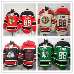 Череп черных ястребов онлайн-Толстовки с капюшоном New Chicago Blackhawks # 88 Patrick Kane Толстовки с капюшоном от Old Time, цвет черный череп, зеленый, красный, бежевый M-3XL